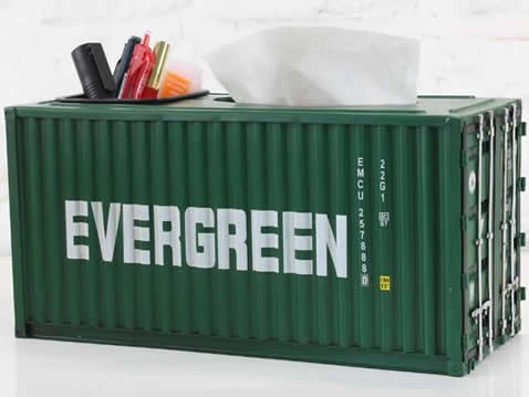 Handmade Metal Shipping Container Model Desk Office Supplies Organizer,Tissue Box