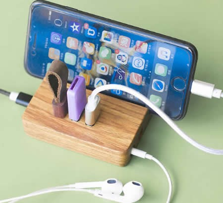 Portable  Wooden USB 2.0 3-Port Hub  with Stand for All Phones