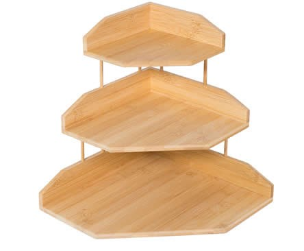 3-Tier Bamboo Wooden Corner Shelf