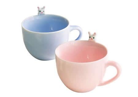 3D Cute Lovely Cartoon Cat & Rabbit Figurine Ceramics Coffee Cup