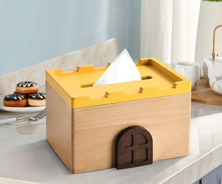 Fashion wooden small house castle tissue box home decoration idea