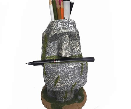 Retro stone man pen holder office learn organizer holder