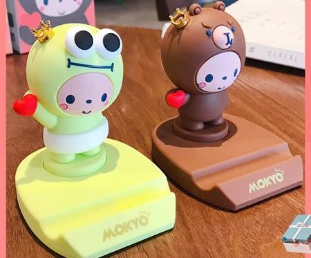 Cute happy cartoon animal desktop phone holder