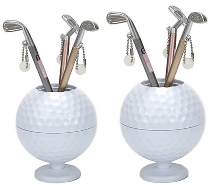 Creative golf desktop learning and organizing pen holder golf cue pen