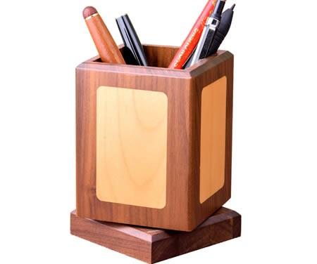 Classic rotating black walnut wooden square office organize pen holder