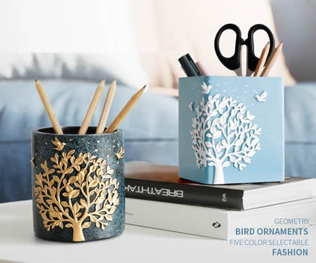 Brief large tree and bird desktop decoration storage art pen holder