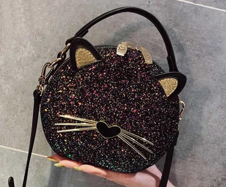 Cute bearded cartoon cat girl handbag shoulder bag