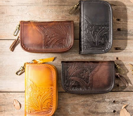 Vintage Mens Genuine Leather Cowhide Organizer Car key Card Case Relief Pattern Wallet