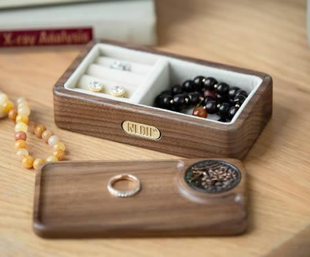 Brief Black Walnut Wood Ring Necklace Jewelry Organize Storage Box