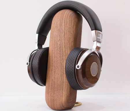 Brief Desktop Organize Wooden Headphone Stand Black Walnut Beech Holder