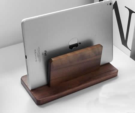 Classic Black Walnut Wooden Notebook & Ipad Storage Rack