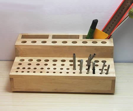 Creative multiple holes pen holder & tools organize wooden storage box 61-hole