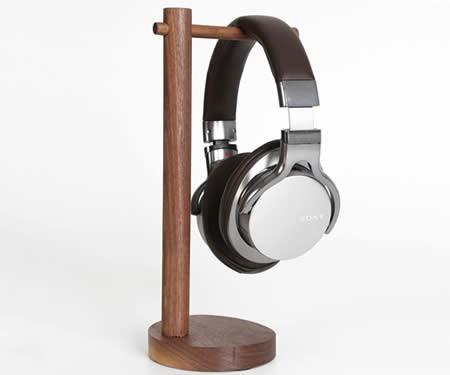 Simple Solid Wood Black Walnut Desktop Headphone Stand & Jewelry Storage Holder