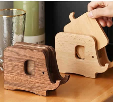 Creative Wooden Elephant Cup Coaster Wood Kitchen Insulation Mat Phone Holder