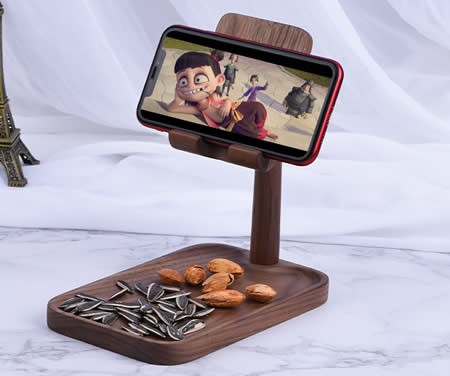 Adjustable Angle Black Walnut Wood Phone Holder Beech Key Storage Tray