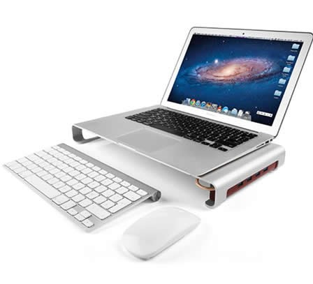 Aluminum Alloy Monitor Stand  with 4-USB Hub  for iMac Macbook Computer