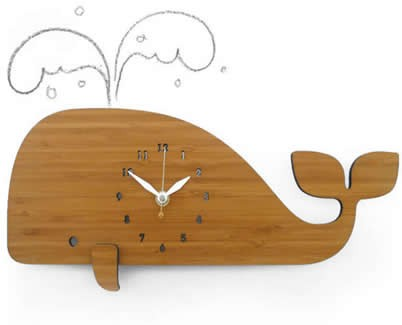 Bamboo Wood Whale Wall Clock