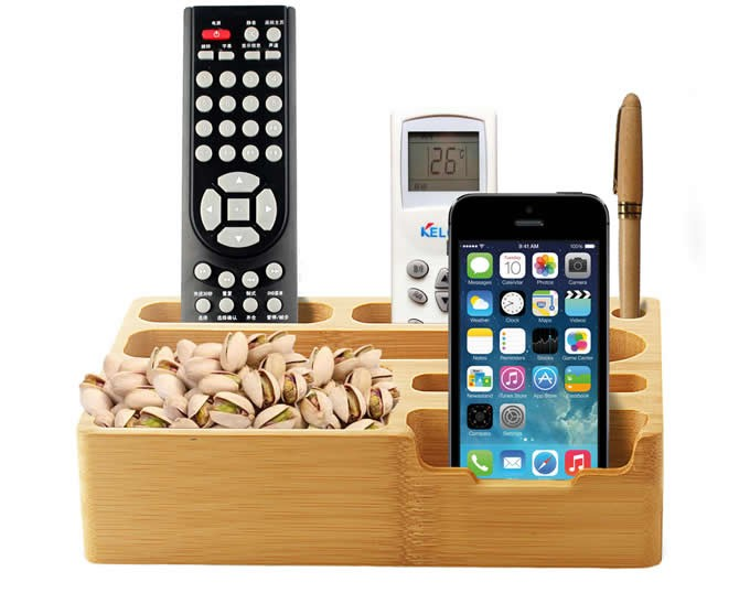 Bamboo Desk Organizer Cell Phone TV Remote Control Holder Caddy Office Supplies Storage Box Organizer Pens/Pencils Holder