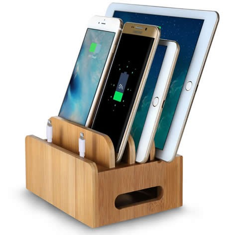 Bamboo Multi- Device Desktop Organizer  Charging Station For Smart Phones, Tablets and Laptops
