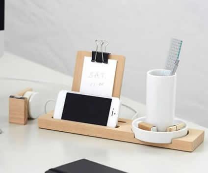 Bamboo Multifunction Smart phone Charging Station and Desktop