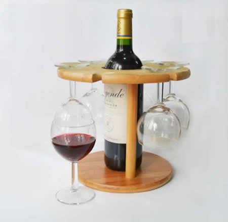 Bamboo Single Wine Bottle Rack, 6 Glass Stemware Storage Display Stand