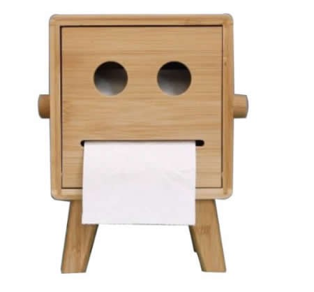 Bamboo Smiley Face Tissue Box