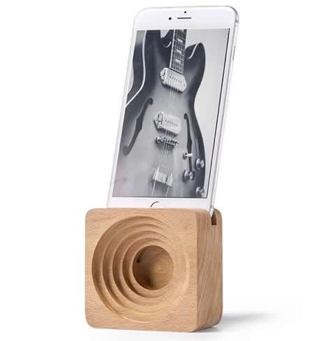 Bamboo Wood Phone Dock with Sound Amplifier for iPhone 7, iPhone 6s, iPhone 6 Plus iPhone 8/8plus and Android Smartphones
