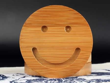 Bamboo Smiley Face Coaster