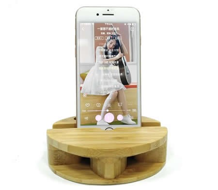 Bamboo Smartphone Cell Phone Charging Dock Speaker Amplifier Megaphone Holder Stand for iPhone