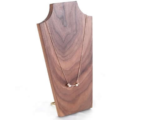 Black walnut Wooden Necklace Jewelry Bust Display Organizer Stand