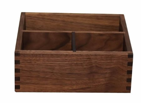 Black Walnut Wooden 3 Compartment Desk Organizer Pen Pencil Holder/Remote Control Holder Organizer