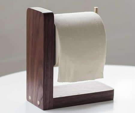 Black Walnut Wooden Toilet Paper Roll Holder