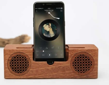 Bluetooth Bamboo Wood Portable Speaker With Mobile Phone Stand Holder