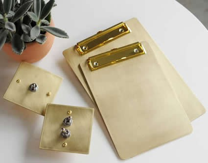 Brass Document/Data/Paper File Holder Clipboard Folder Clip Organizer