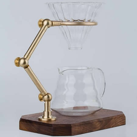 Brass & Wooden Pour Over Drip Coffee Maker Dripper Stand,Black Walnut Base