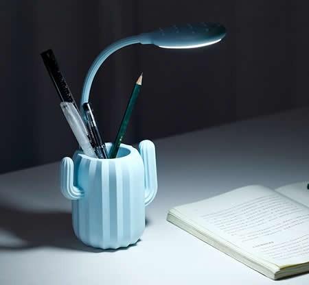 Cactus Rechargeable Led Desk Night Light Pen Holder Feelgift