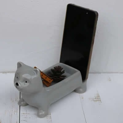 Ceramic Animal Paper Clip Holder With Mobile Phone Holder Stand