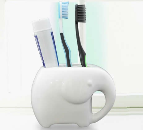 Ceramic Elephant Toothbrush And Toothpaste Holder Feelgift