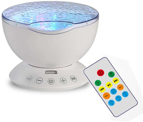 Colorful Automatic Rotating Waves Night Light With Remote Control
