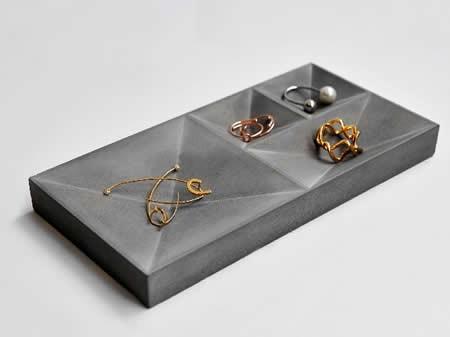 Concrete Jewelry Tray Showcase Display Organizer FeelGift
