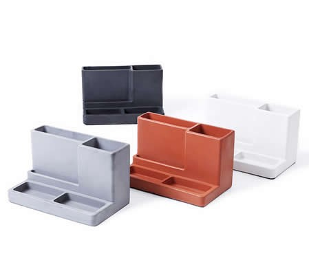 Concrete  Multi-function Desk Stationery Organizer Storage Box  Pen/Pencil ,Cell phone, Business Name Cards Remote Control Holder