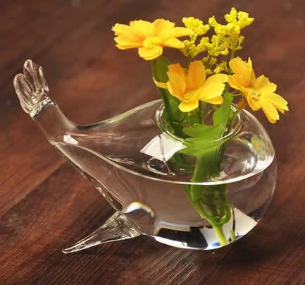 Desktop Glass Whale Vase