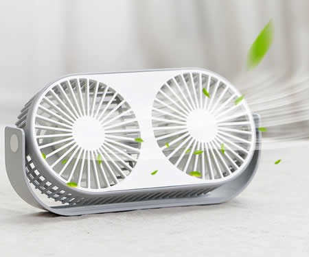 Dual Head USB Powered Mini Desk Fan