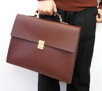 Genuine Leather Briefcase  Laptop Business Bag for Men & Women,Fits under to 13.3 inch Macbook