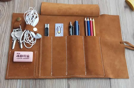Genuine Leather Roll Up Style Pen Pencil Case Black