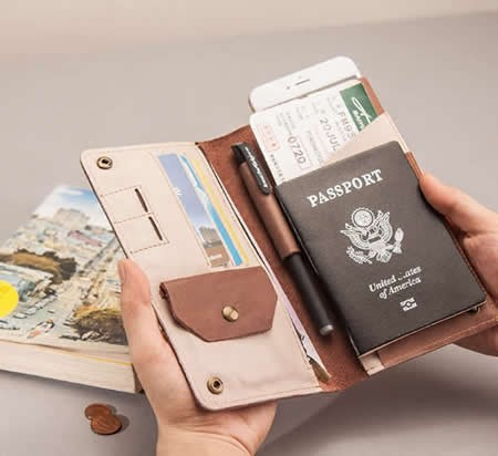 Genuine Leather Travel Wallet &  Documents Organizer Zipper Case