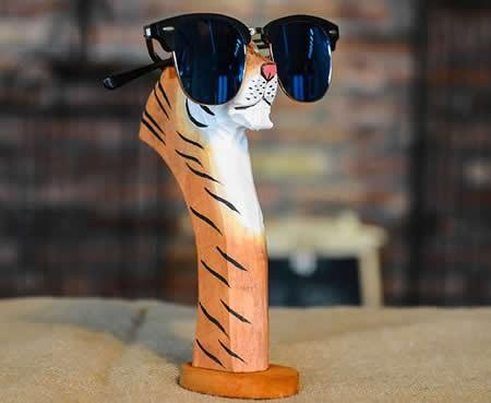 Hand Carved Wood Animal Head Eyeglass Holder