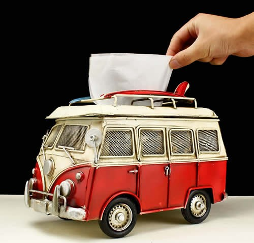 Handmade Antique Model Kit Car-Volkswagen Microbus Tissue Box