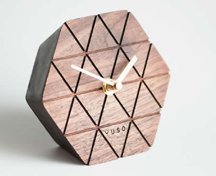 Handmade Wood hexagonal Table Alarm Clock