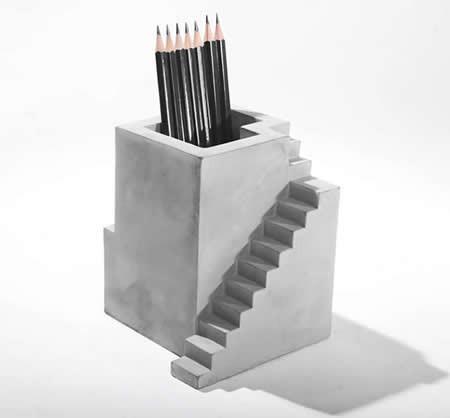 Handmade Concrete Architecture Stairs Pen Holder,2pcs